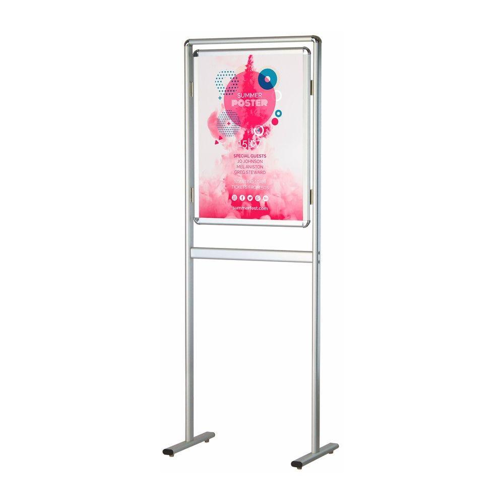 Porte-affiche coins arrondis avec cadre sur pied simple-face B2