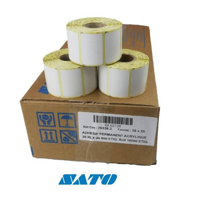 48 000 étiquettes blanches 38x25 mm pour imprimante SATO (photo)