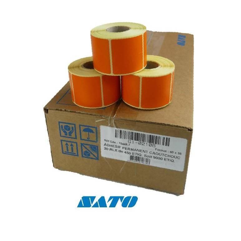 27 000 étiquettes oranges 38x40 mm pour imprimante SATO (photo)