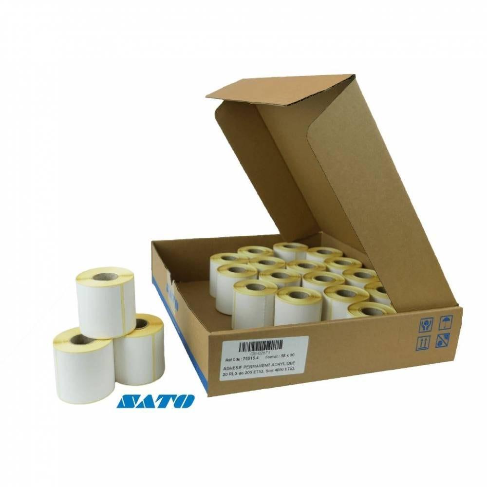 12 000 étiquettes blanches 58x90 mm pour imprimante SATO (photo)