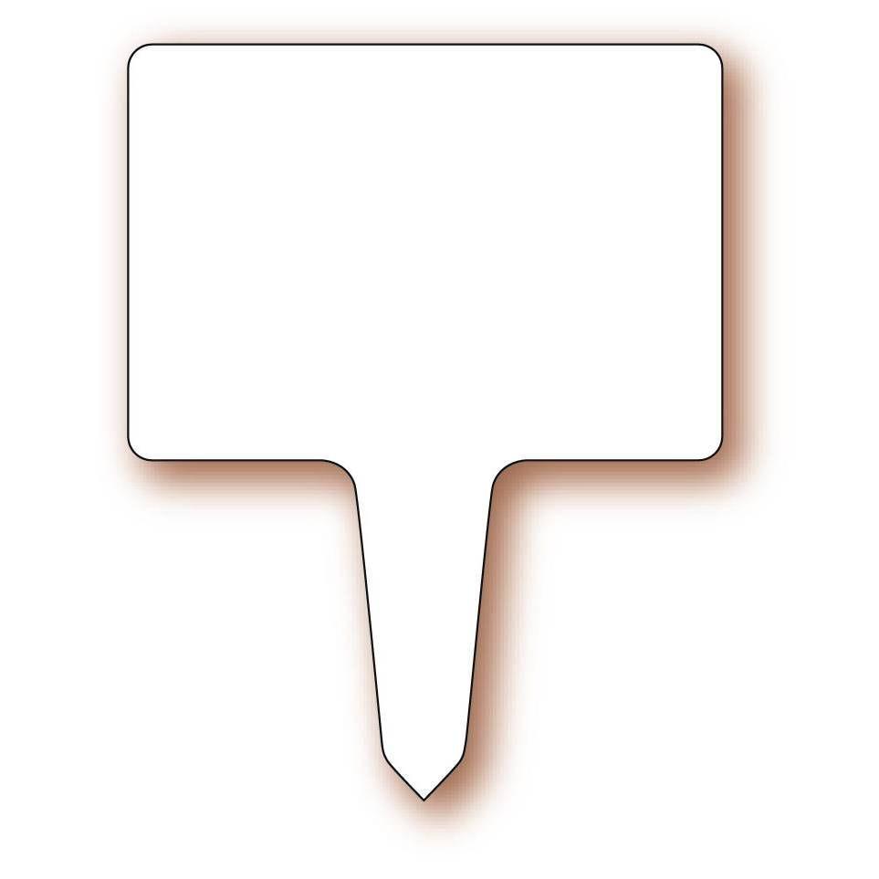Etiquette simple avec pique plastique intégré 'NEUTRE' blanc 10x6,7cm par 10