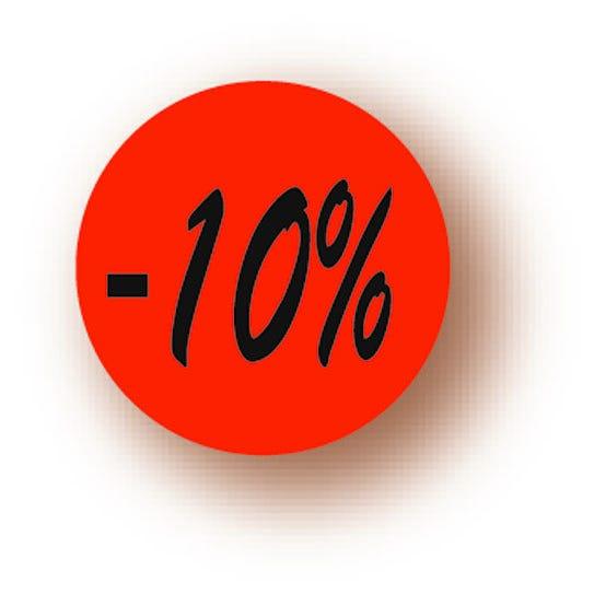 Etiquette adhésive en papier -10% rouge diamètre 3,6cm par 500