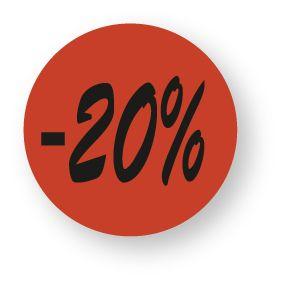 Etiquette adhésive en papier -20% rouge diamètre 3,6cm par 500