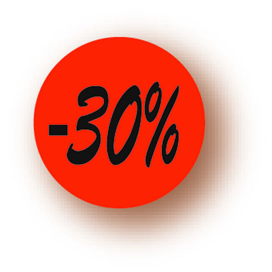 Etiquette adhésive en papier -30% rouge diamètre 3,6cm par 500