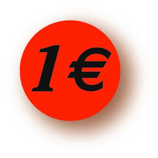 Etiquette adhésive en papier 1€ rouge diamètre 3,6cm par 500
