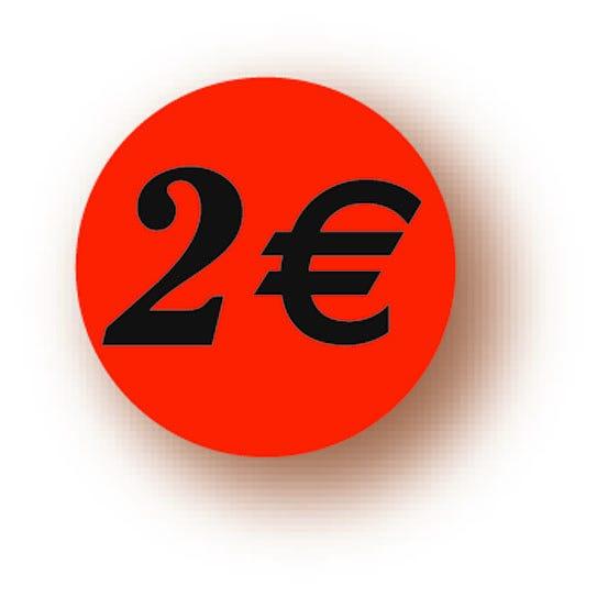 Etiquette adhésive en papier 2€ rouge diamètre 3,6cm par 500