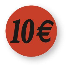 Etiquette adhésive en papier 10€ rouge diamètre 3,6cm par 500