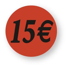 Etiquette adhésive en papier 15€ rouge diamètre 3,6cm par 500