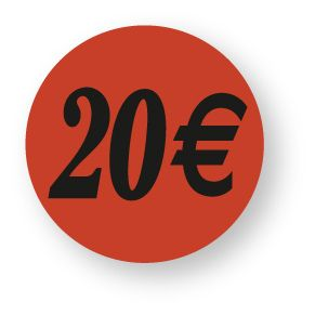Etiquette adhésive en papier 20€ rouge diamètre 3,6cm par 500