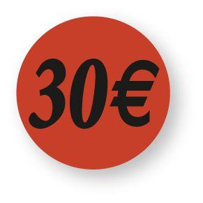 Etiquette adhésive en papier 30€ rouge diamètre 3,6cm par 500