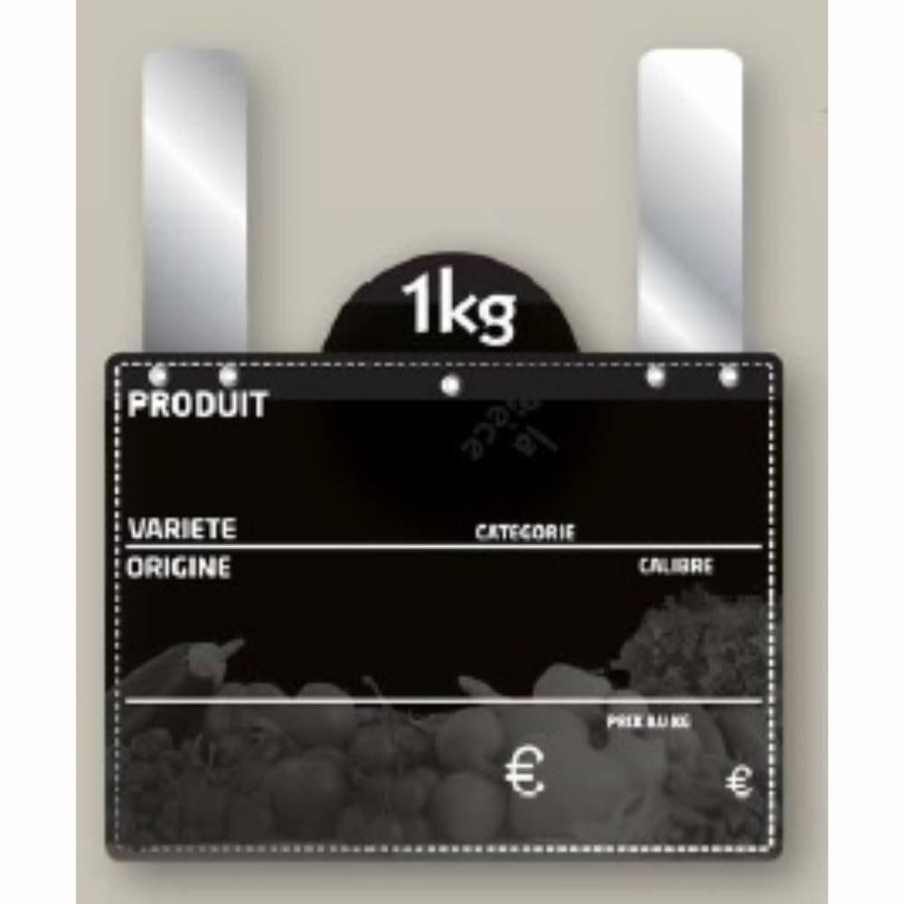 Etiquette ardoisée grandes pattes avec disque poids '4 SAISONS' 13x9cm par 10