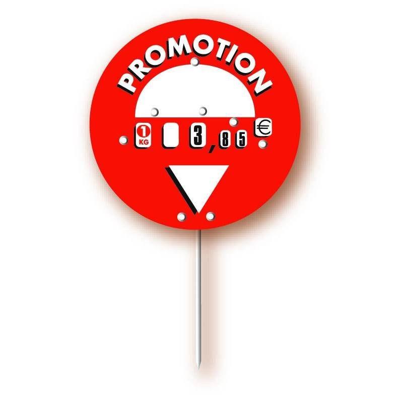 Etiquette à roulette, ronde, pique inox 'ROND-POINT' rouge diamètre 12cm par 10