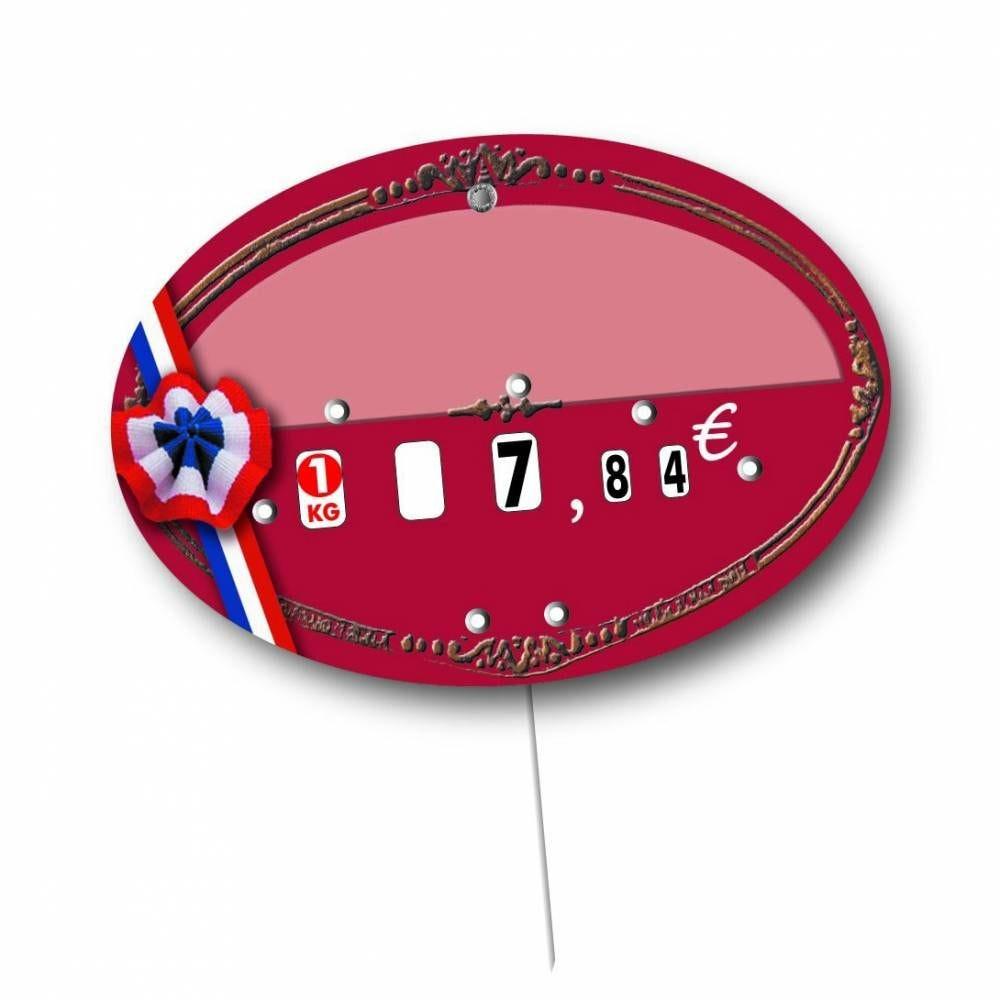 Etiquette à roulettes pique-inox option disc-info 'COMICE' 13,5x9,5cm par 10