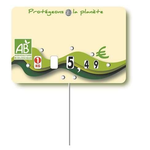 Etiquette à roulettes pique-inox option disc-info 'BIO' 12x8cm par 10