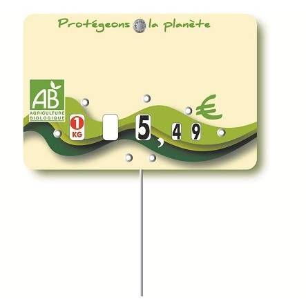Etiquette pique-inox avec roulettes option disc-info 'BIO' 10,5x7cm par 10