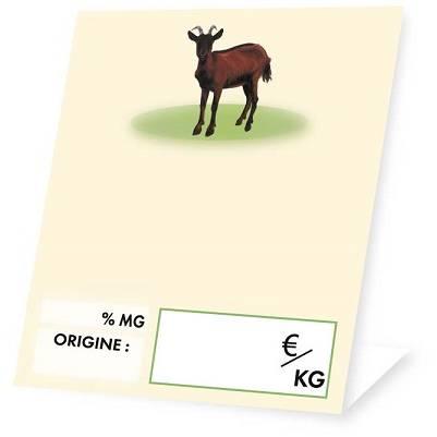 Chevalet de vitrine 'FROMAGE' Chèvre beige 6x10cm par 10