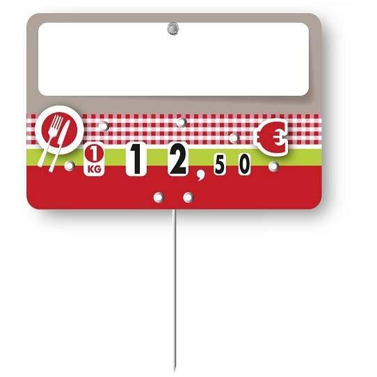 Etiquette à roulettes pique-inox option disc-info 'OLGA' 10,5x7cm par 10