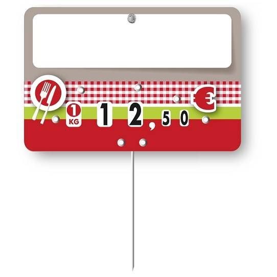 Etiquette à roulettes pique-inox option disc-info 'OLGA' 12x8cm par 10