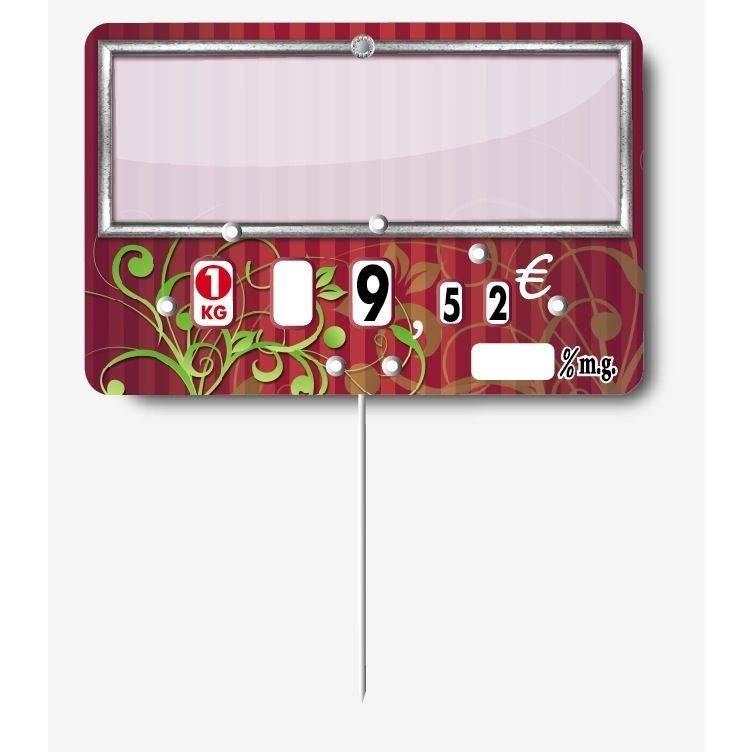 Etiquette à roulettes pique-inox option disc-info 'ARABESQUE' 12x8cm par 10