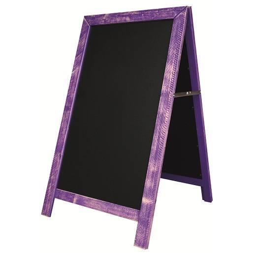 Chevalet de trottoir 'CARNAVAL' cérusé violet 54x93cm à l'unité