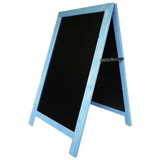 Chevalet de trottoir 'CARNAVAL' cérusé bleu ciel bleu 54x93cm à l'unité