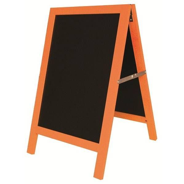 Chevalet de trottoir 'ARLEQUIN' orange noir petit modèle (50x80cm) à l'unité