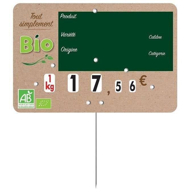 Etiquette  à roulette pique-inox  'SIMPLEMENT BIO' 20x15cm par 10