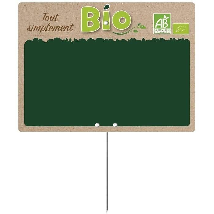 Etiquette pique-inox 'SIMPLEMENT BIO' 20x15cm par 10