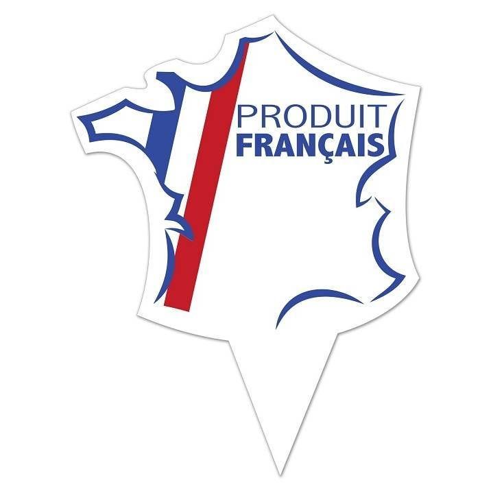 Etiquette simple avec pique plastique intégré 'PRODUIT FRANCAIS' 10x8cm par 10