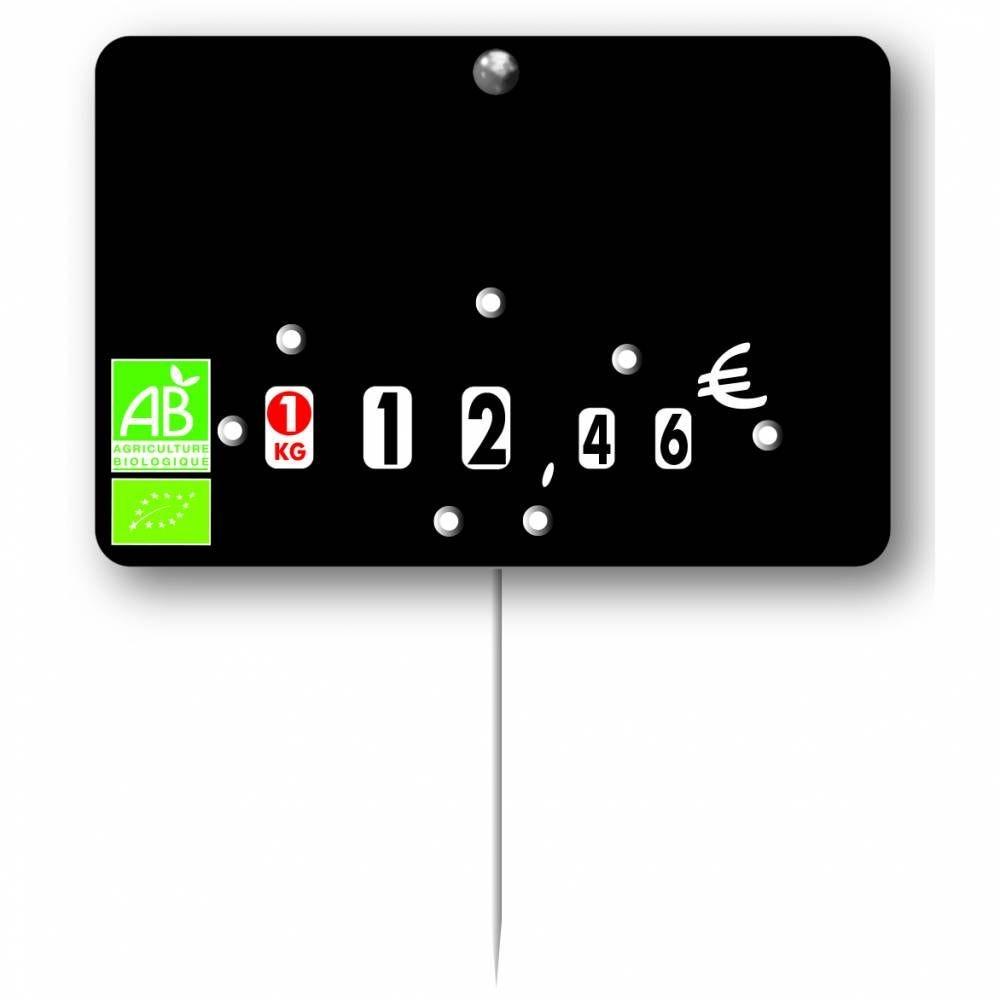 Etiquette ardoisée  à roulette pique-inox  'LOGO AB' 10,5x7cm par 10