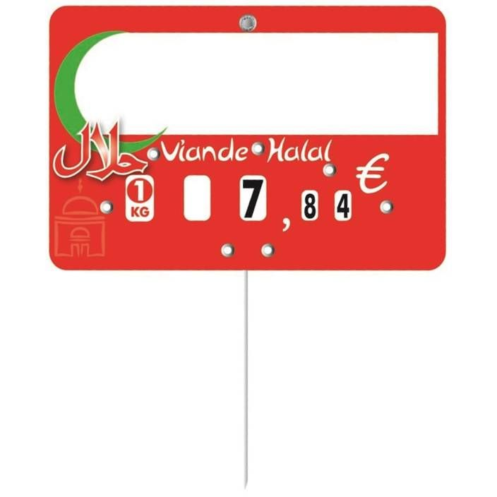 Etiquette à roulettes pique-inox option disc-info 'HALAL' 12x8cm par 10