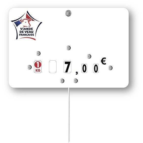 Etiquette à roulettes pique-inox 'VIANDE DE FRANCE' veau blanc 12x8cm par 10