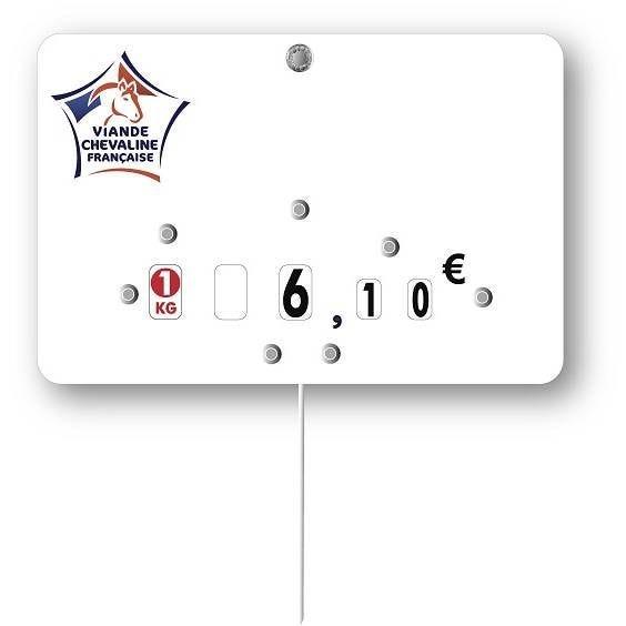 Etiquette à roulettes pique-inox 'VIANDE DE FRANCE' cheval blanc 12x8cm par 10