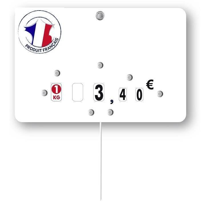 Etiquette à roulettes pique-inox 'VIANDE DE FRANCE' blanc 12x8cm par 10