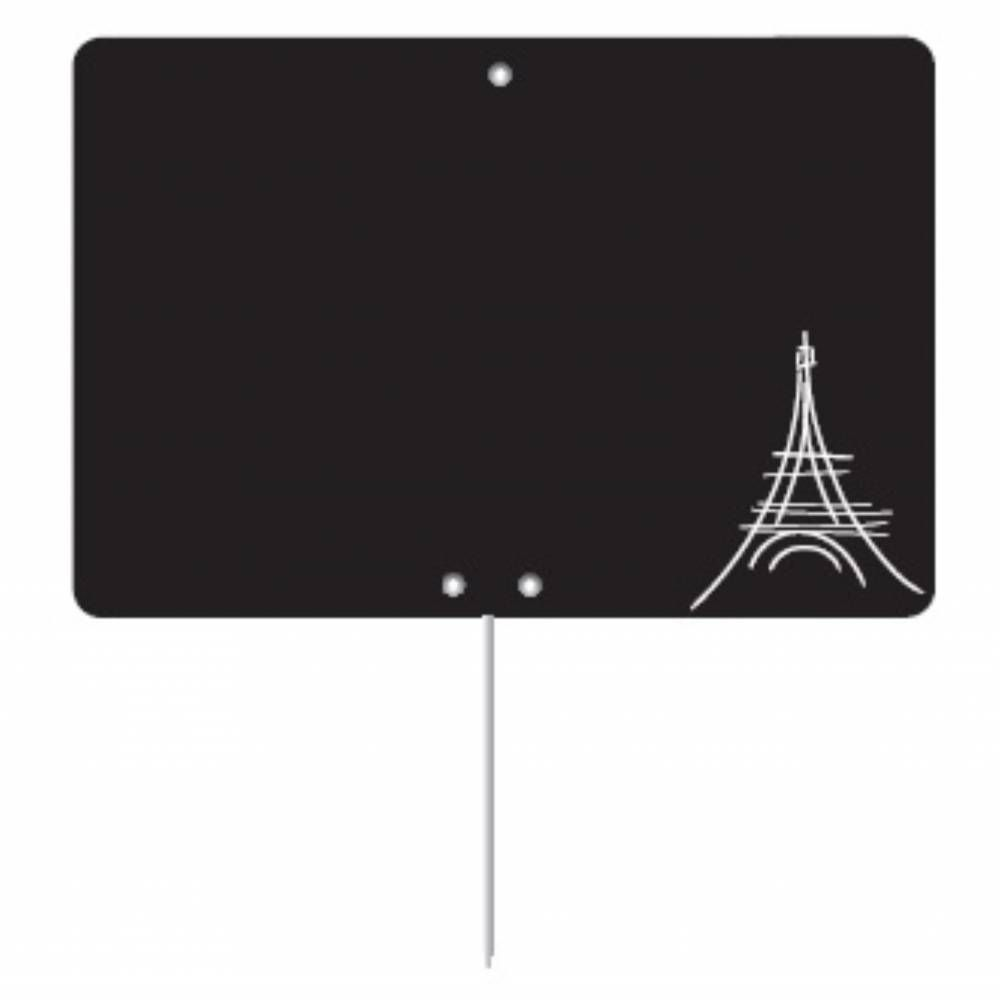 Etiquette ardoisée pique-inox 'REGION' Paris noir 8x6cm par 10