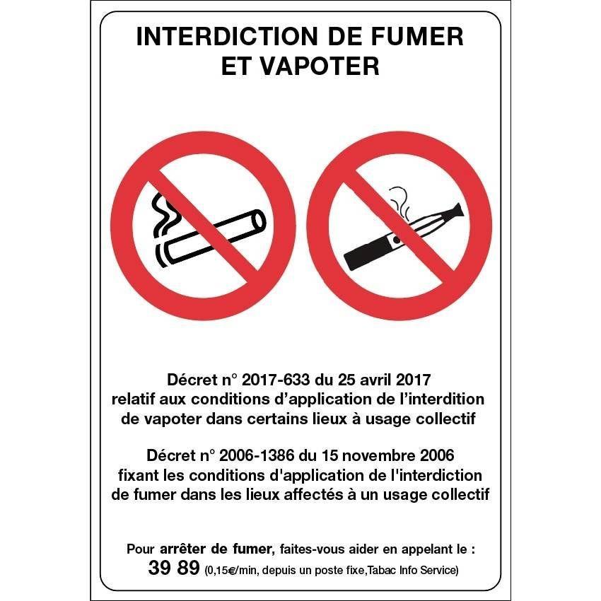 Pancarte adhésif Interdiction de fumer et vapoter blanc 21x30cm à l'unité