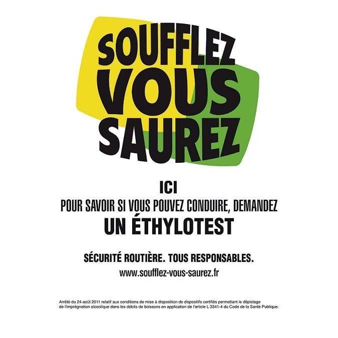 Pancarte adhésif Soufflez vous saurez blanc 21x29,7cm à l'unité