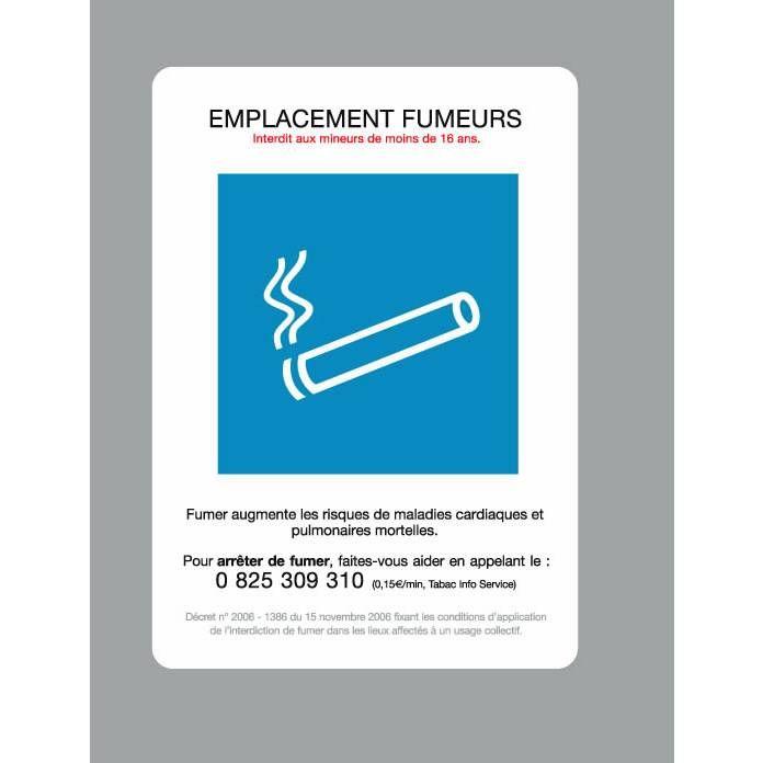 Pancarte 'AFFICHAGE OBLIGATOIRE' Emplacement fumeurs blanc 15x21cm à l'unité