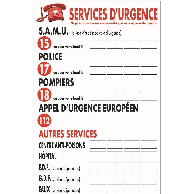 Pancarte 2 trous pour suspension Service d'urgence blanc 20x30cm à l'unité