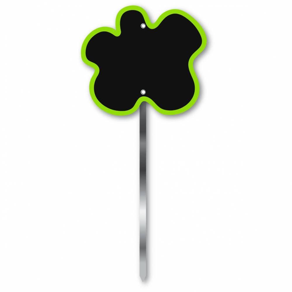 Etiquette simple ardoisée patte longue 60 cm 'FLEUR' vert 9x8cm par 10