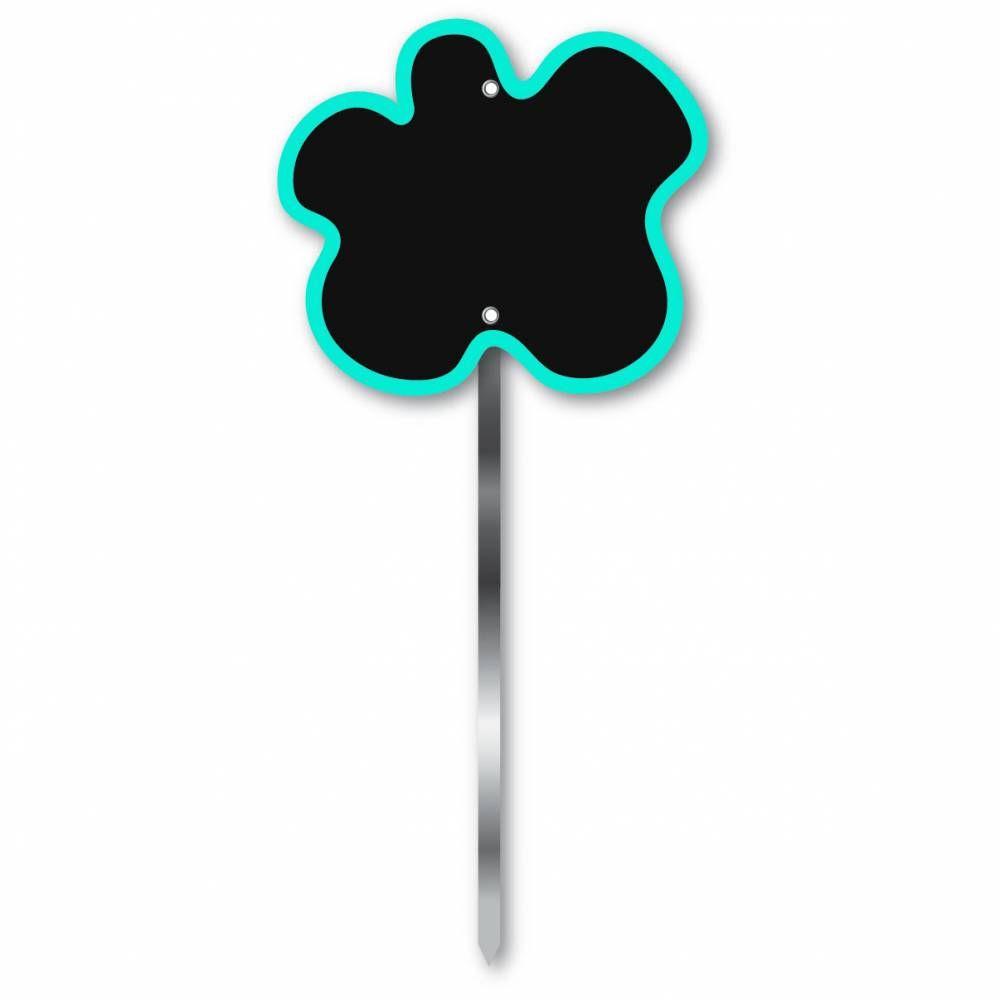 Etiquette simple ardoisée patte longue 60 cm 'FLEUR' bleu 9x8cm par 10