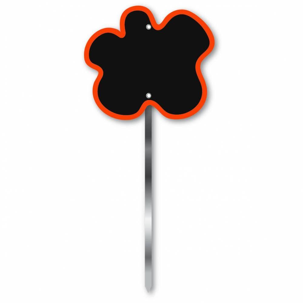 Etiquette simple ardoisée patte longue 60 cm 'FLEUR' orange 9x8cm par 10