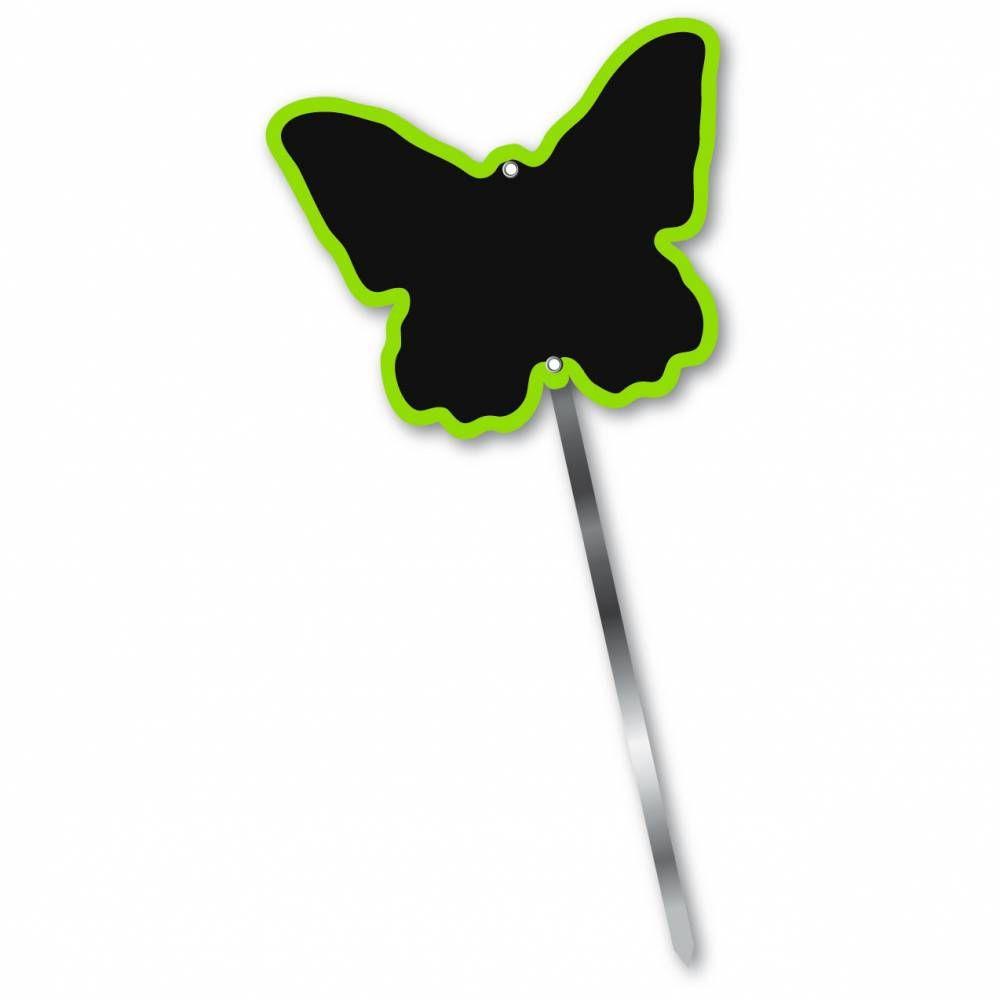 Etiquette simple ardoisée patte longue 60 cm 'PAPILLON' vert 10x8cm par 10