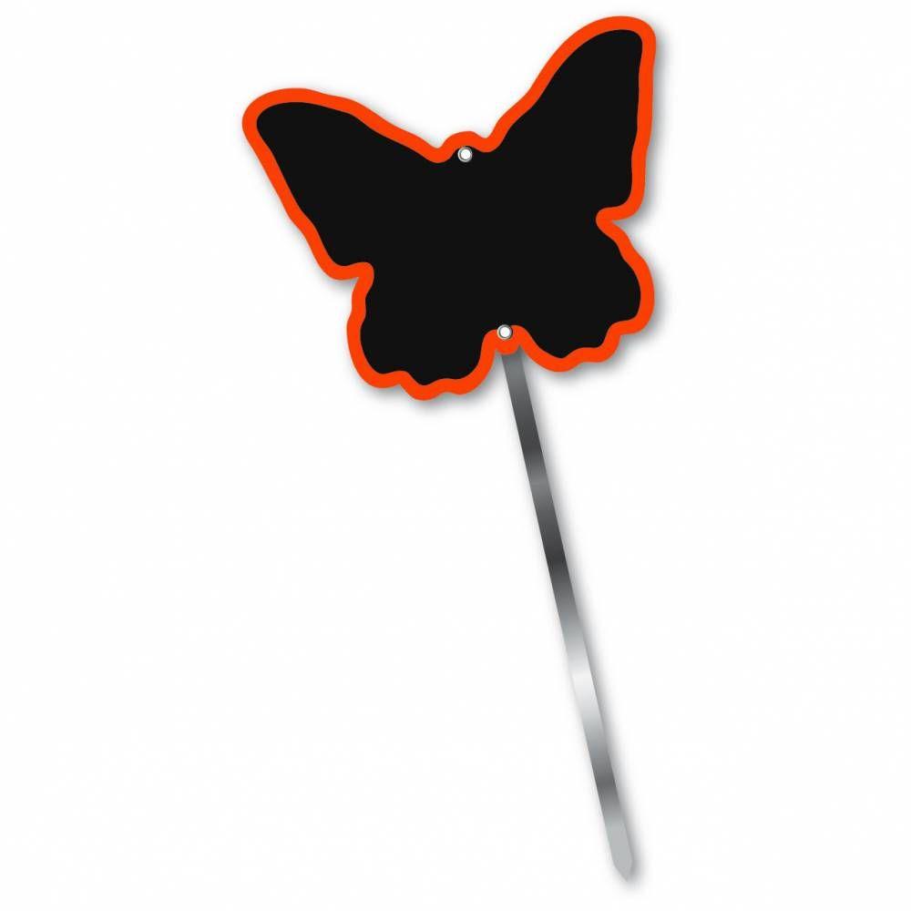 Etiquette simple ardoisée patte longue 60 cm 'PAPILLON' orange 10x8cm par 10