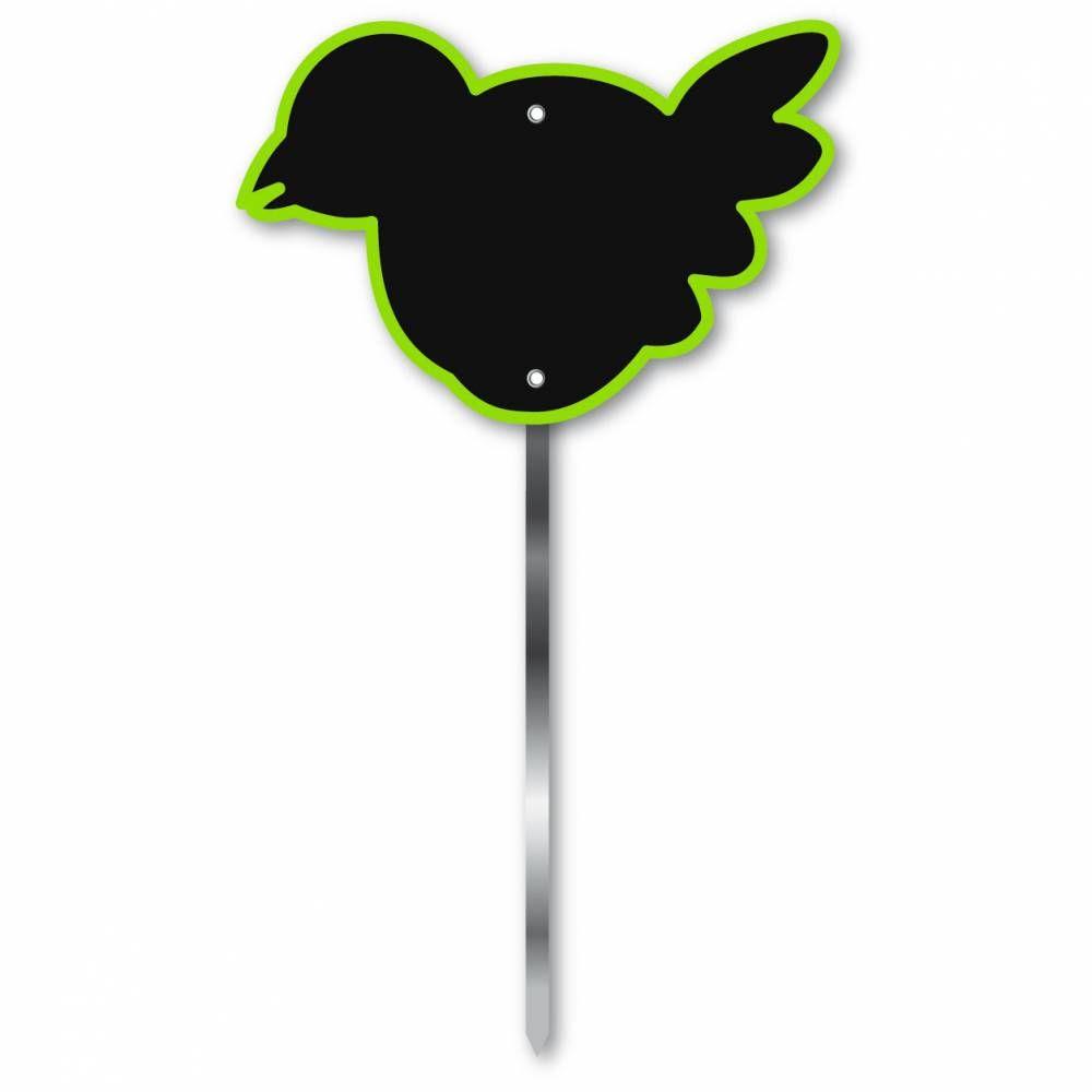 Etiquette simple ardoisée patte longue 60 cm 'OISEAU' vert 12x8cm par 10