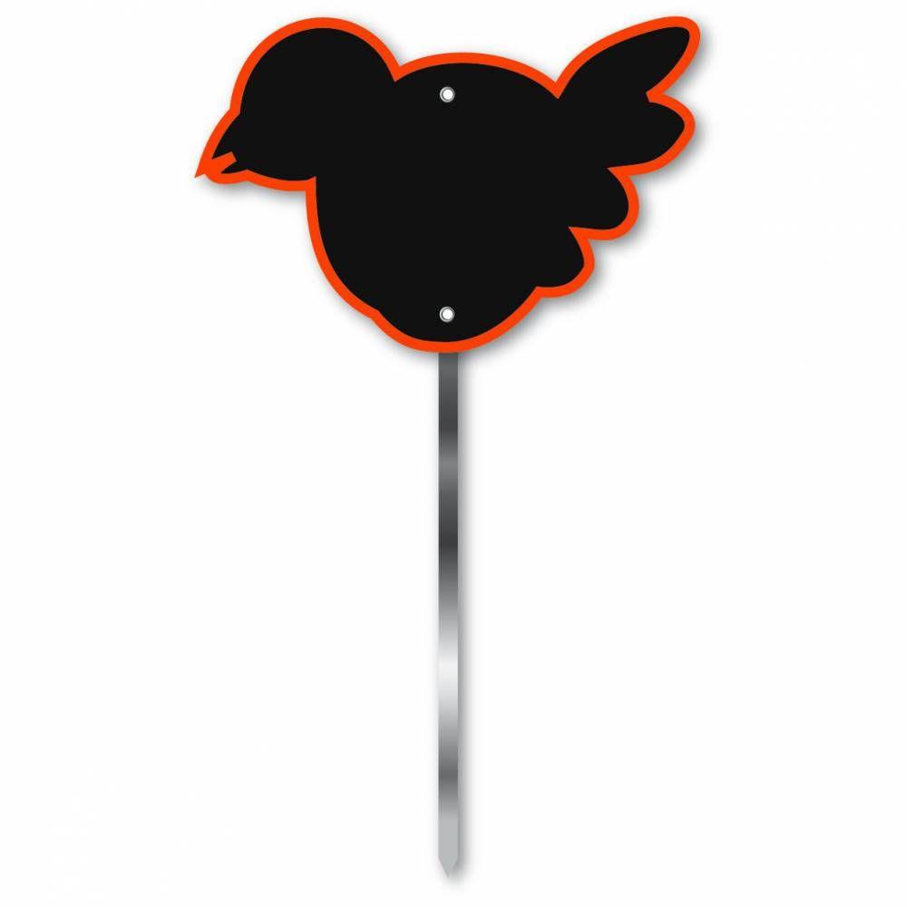 Etiquette simple ardoisée patte longue 60 cm 'OISEAU' orange 12x8cm par 10