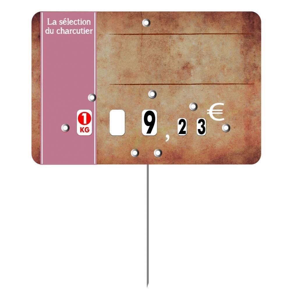 Etiquette à roulettes pique-inox 'PARCHEMIN' marron 10,5x7cm par 10