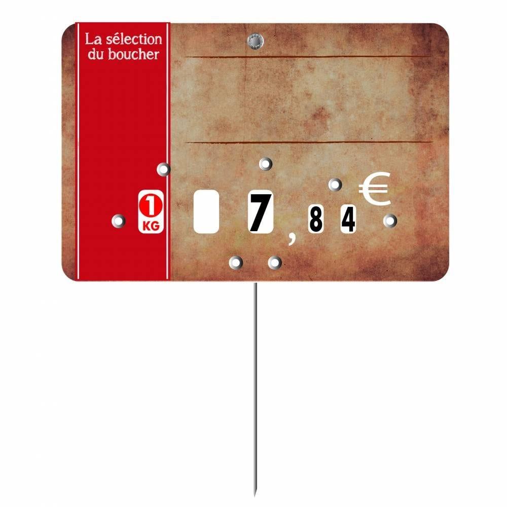 Etiquette à roulettes pique-inox 'PARCHEMIN' marron 12x8cm par 10