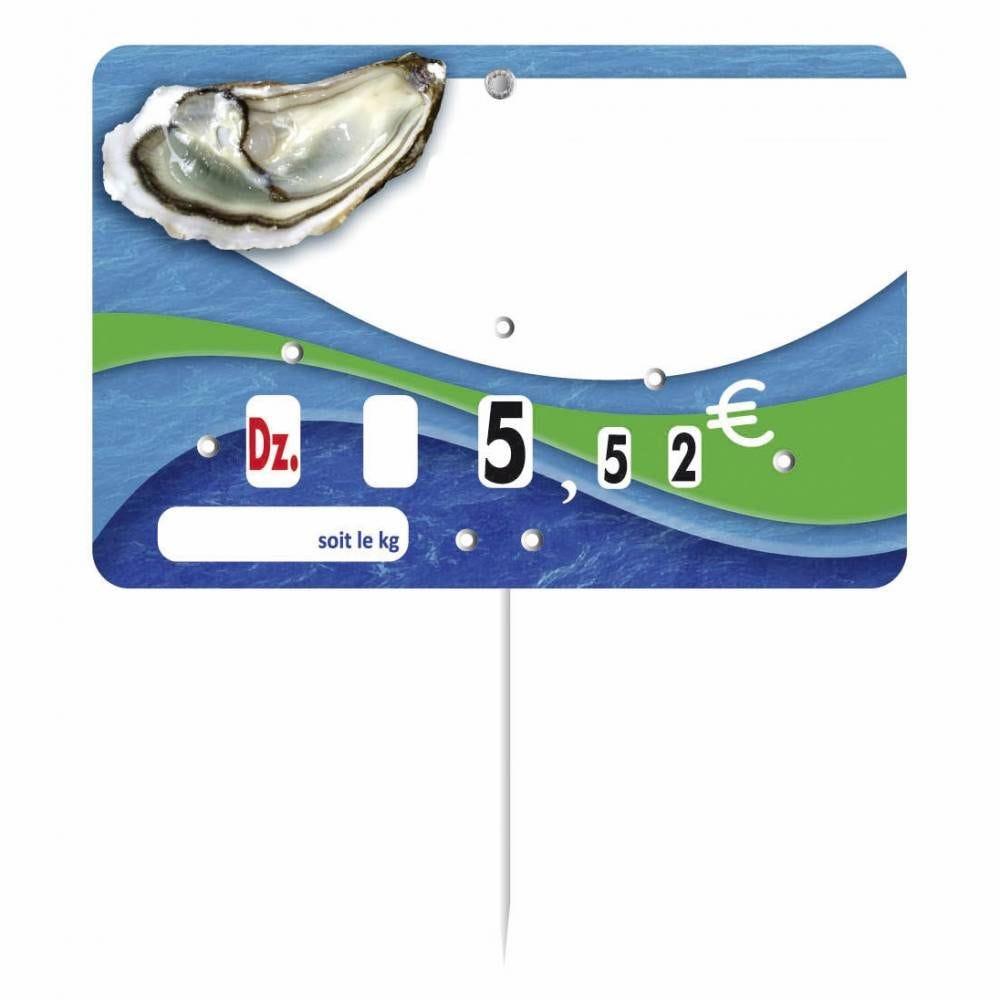 Etiquette à roulettes pique-inox Huitre disc-info 'BLEUE DE MER' 15x10cm par 10