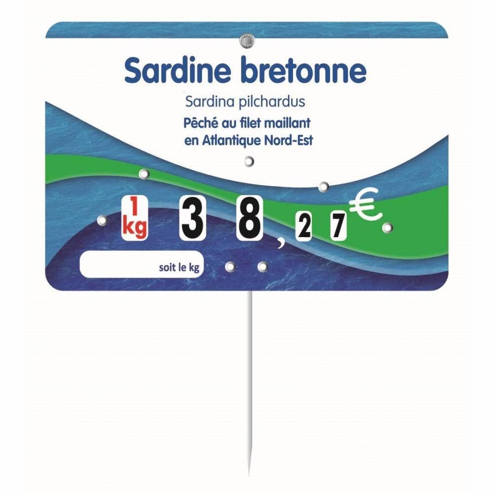Etiquette à roulettes pique-inox option disc-info 'BLEUE DE MER' 15x10cm par 10